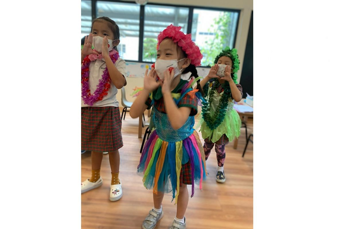 This year's graduating K2 pupils from EtonHouse pre-school practising for their year-end concert with safe distancing measures in place.