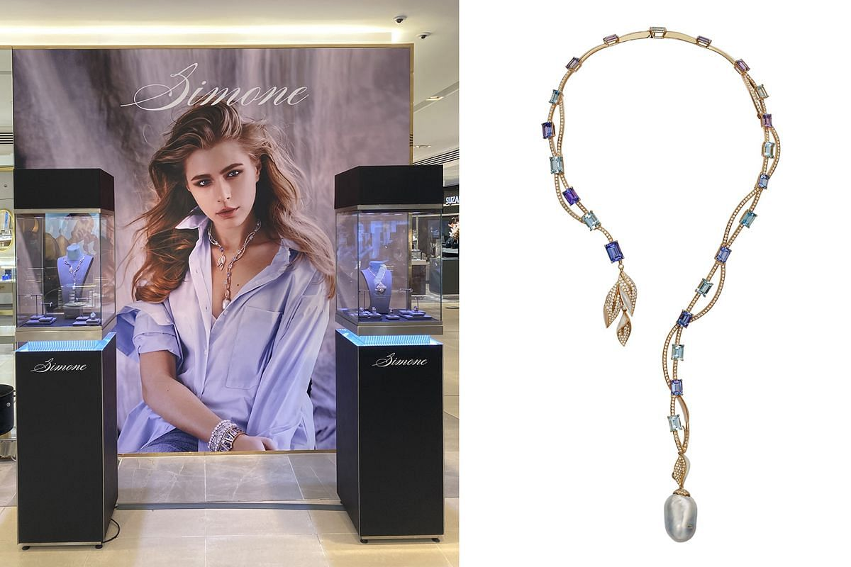 Simone Jewels' showcase at Harrods (below) features its Quintessentially British collection, which is inspired by the Georgian era of British history. Among the pieces is a £38,000 (S$67,700) Georgian Grandeur necklace (above).