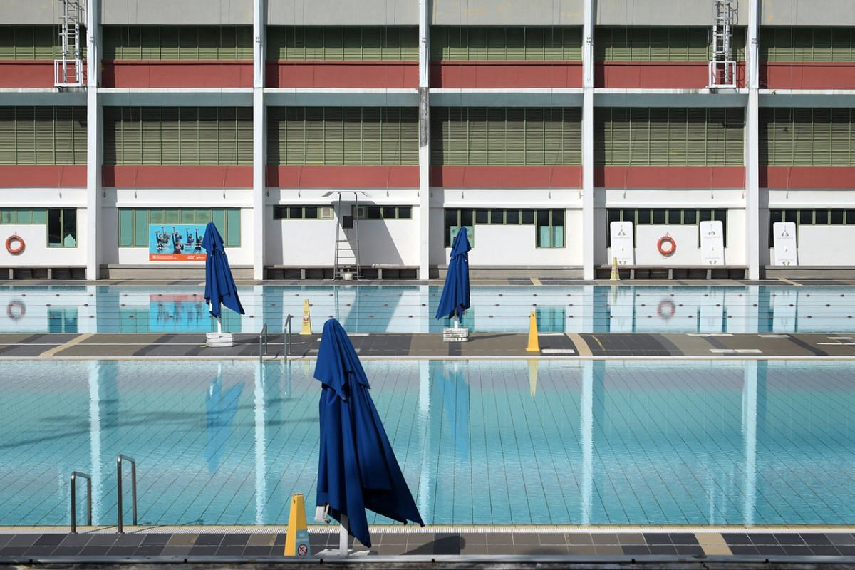 #PEACE: An empty Toa Payoh Swimming Complex on June 15, 2020 at around 4pm. During the circuit breaker period, swimming pools and water fountains were closed and treated at a reduced frequency of once every two weeks. There was an eerie stillness of