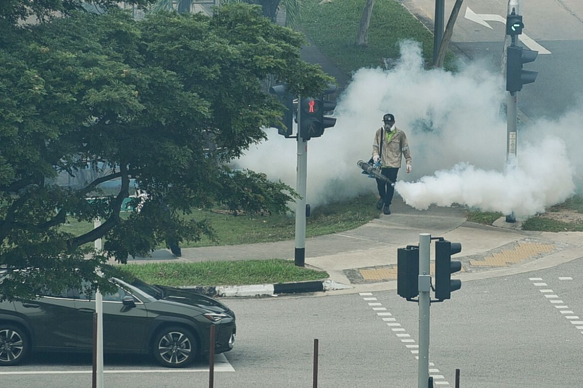 #VIGILANT: Mosquito fogging carried out near Block 93 Jalan Dua on Aug 7, 2020. Even as the community battles a pandemic, we have to remain vigilant in other aspects of public health as dengue continues to be a threat. Over 30,000 dengue cases have b