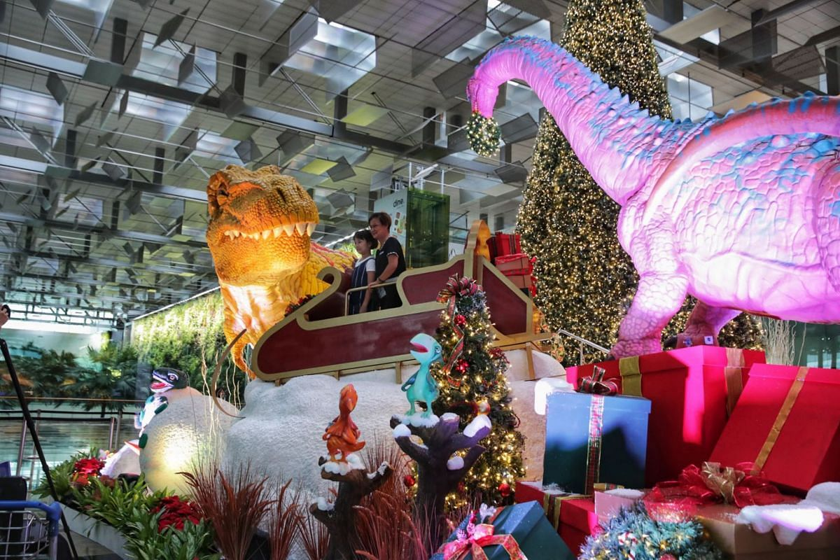 Changi Airport is rolling out a slew of attractions to create a year-end festive cheer, with an eye on evaluating whether the new products can be a big draw for incoming visitors when travel recovers. At Terminal 3, the Jurassic era takes the spotlig