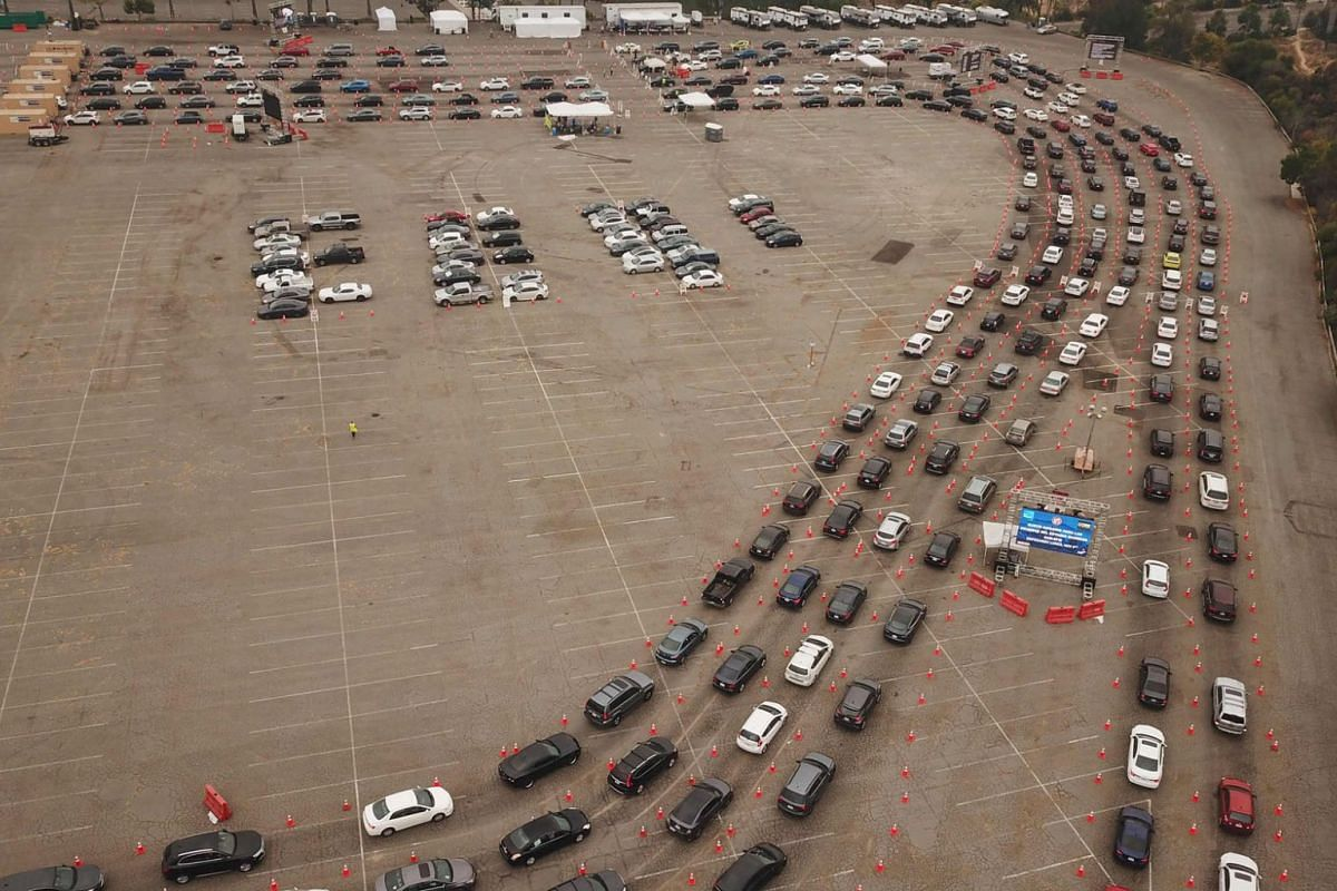 This aerial view shows people waiting in line in their cars at a Covid-19 testing site at Dodger Stadium in Los Angeles, California, on November 18, 2020.