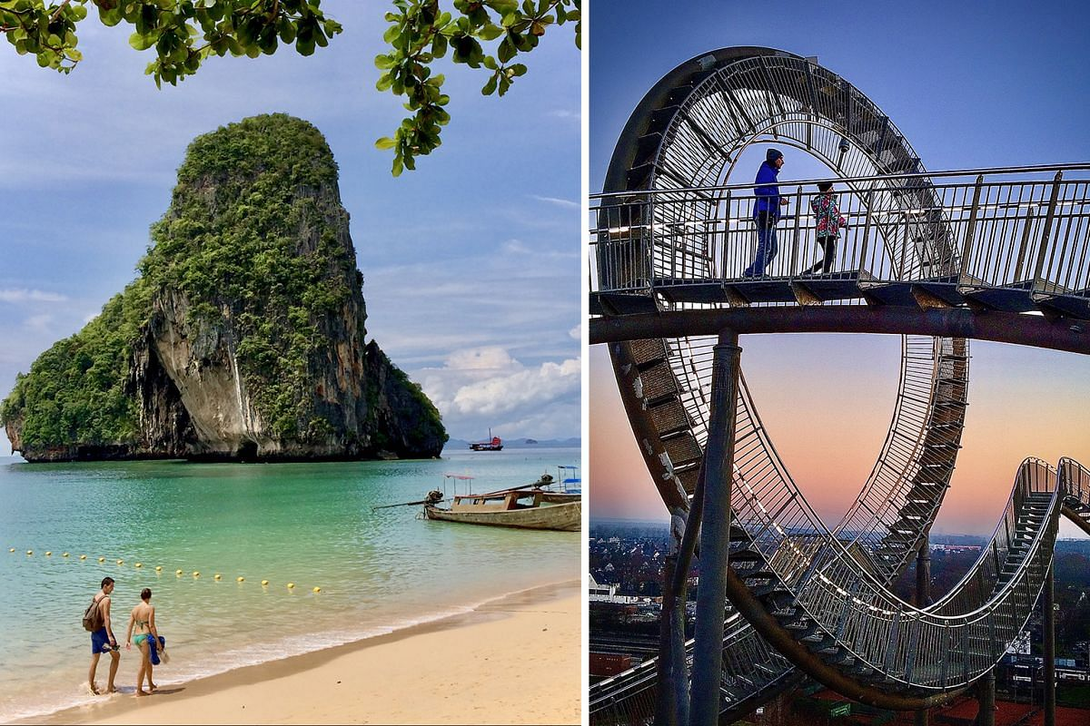 Many border restrictions still apply, but it is possible to start planning and buying tickets for a trip next year to places such as Krabi in Thailand (above) and Germany (right).