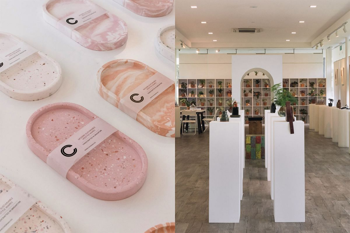 At Whytespace (right), housed within an art gallery, shoppers can get Christmas gifts such as jesmonite trays (left) from local label Chokmah.