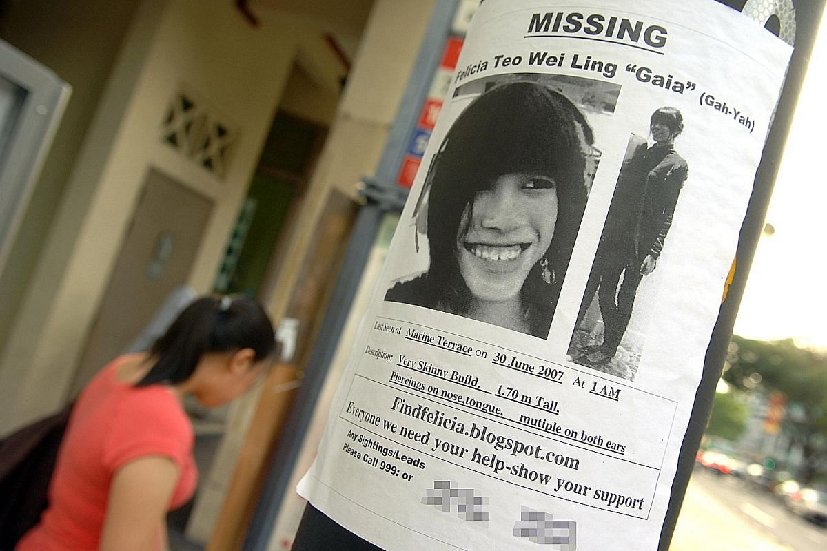 A poster seeking information on Ms Felicia Teo, who went missing in 2007. Earlier this month, two men - Ahmad Danial Mohamed Rafa'ee and Ragil Putra Setia Sukmarahjana - were accused of her murder. In 1986, fast-food chain McDonald's put up posters o