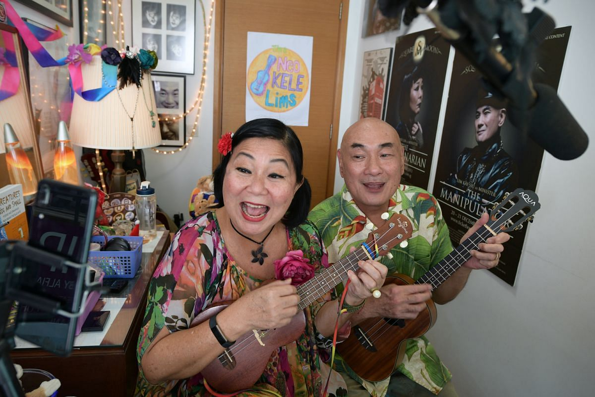 Actress Neo Swee Lin and her actor-husband Lim Kay Siu got into the habit of live-streaming every day since late May, singing and telling stories with their ukuleles.