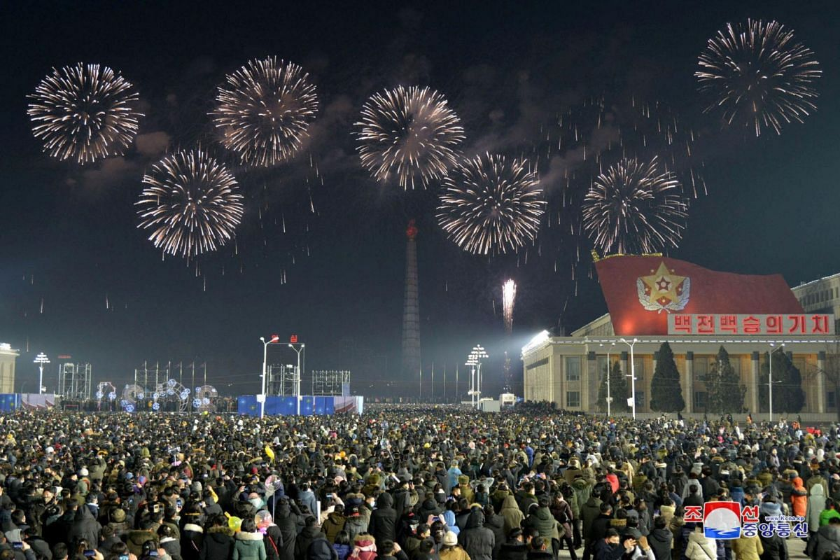 Fireworks are seen in Pyongyang during New Year's celebrations in this photo supplied by North Korea's Korean Central News Agency on Jan 1, 2021.
