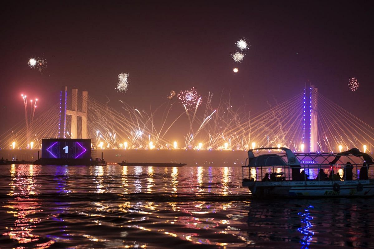 The midnight fireworks light up Tahya Masr Bridge during New Year's Eve celebrations in Cairo, Egypt on Jan 1, 2021.