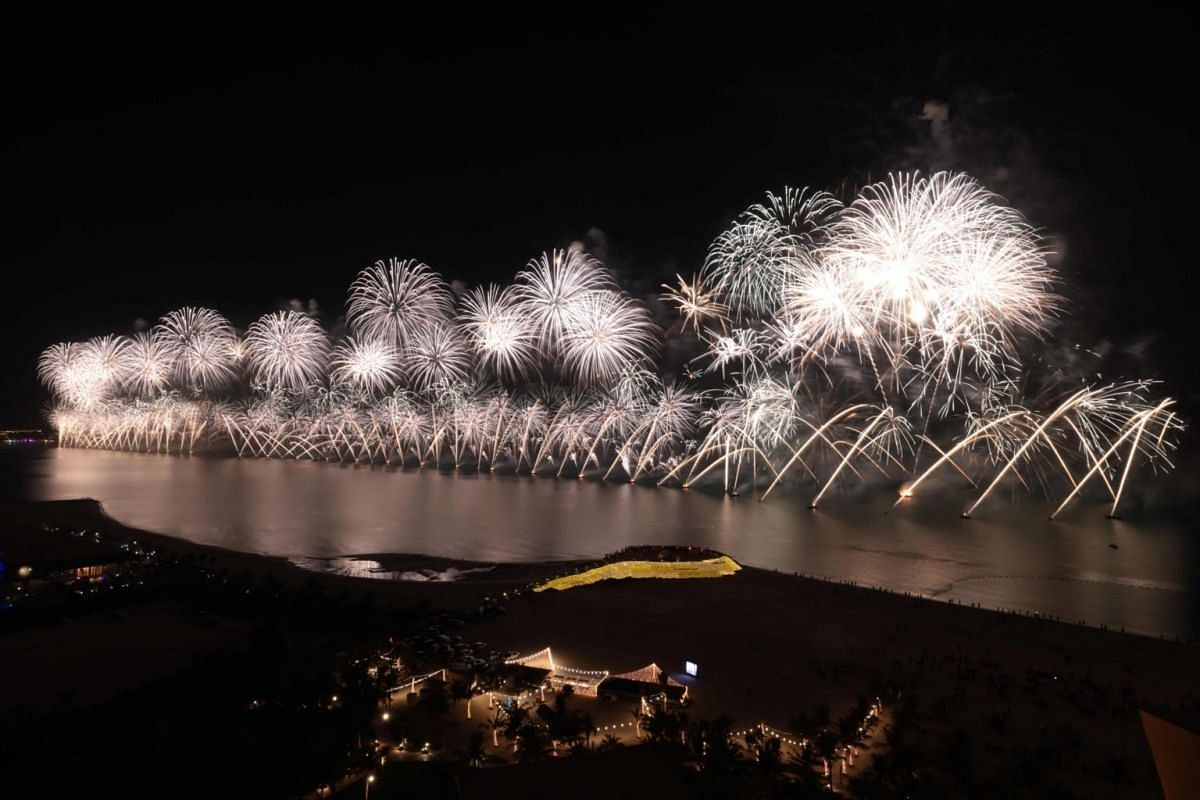 New Year's Eve fireworks erupt over Ras al-Khaimah, United Arab Emirates, in one of the world's largest fireworks shows, on Jan 1, 2021.