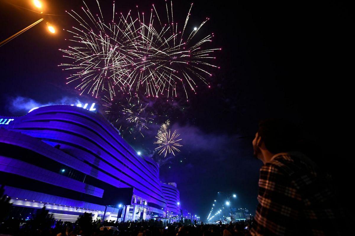 Fireworks are seen during New Year celebrations in Rawalpindi, Pakistan, on Jan 1, 2021.