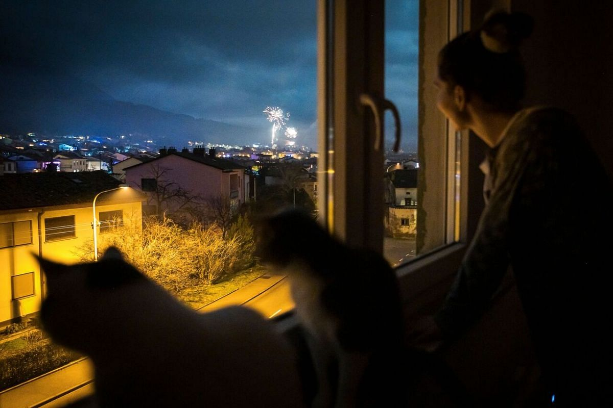 A woman and her cats look at New Year's Eve fireworks through the window of her home in Ajdovscina, Slovenia, on Jan 1, 2021.