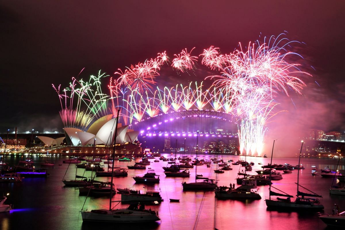 New Year's Eve fireworks erupting over Sydney's iconic Harbour Bridge during the fireworks show on Jan 1, 2021.