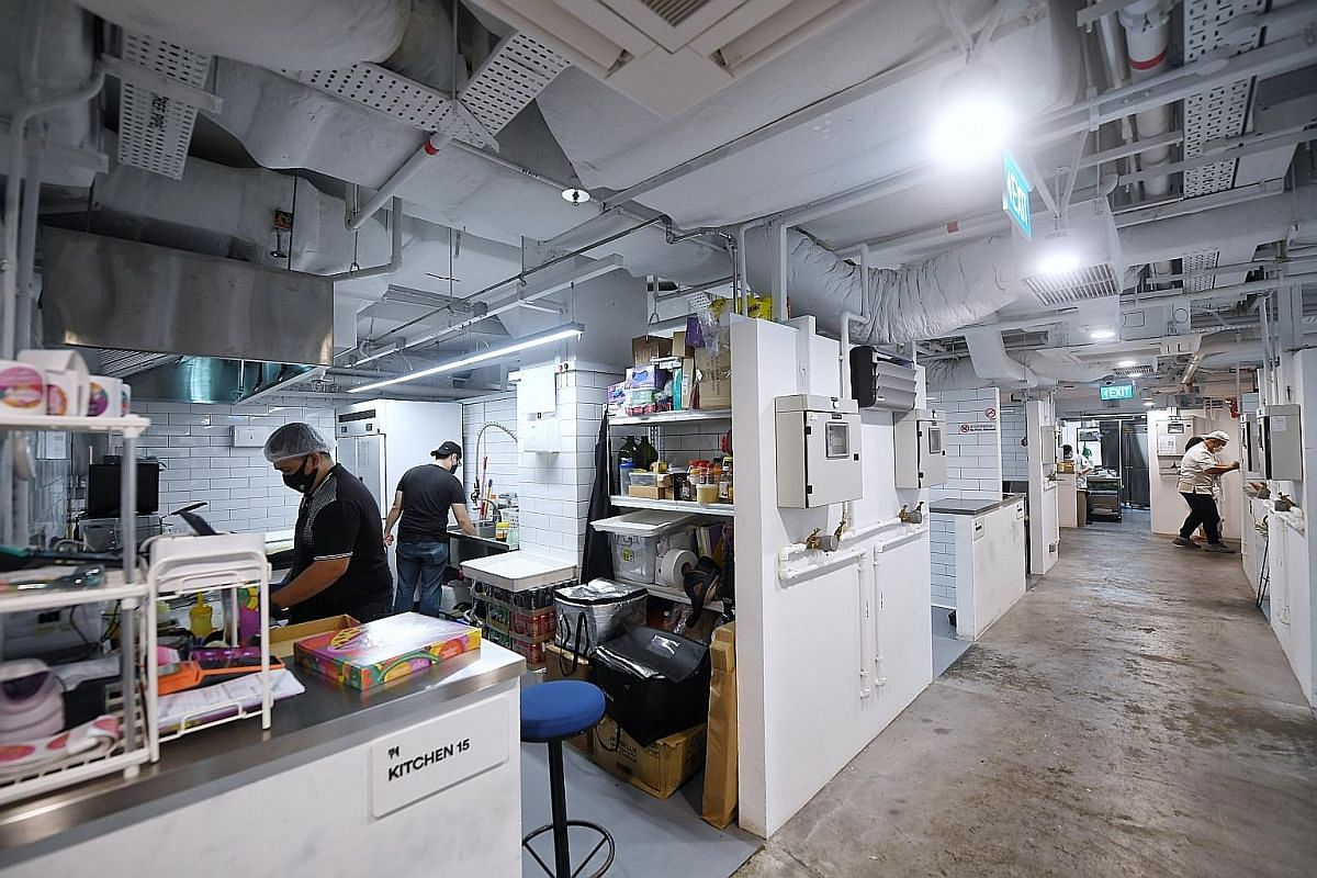 With lower start-up costs and less manpower required, cloud kitchens, such as Orchard Food Market space (above) by Smart City Kitchens, are expected to multiply this year and be the launch sites for many new eateries.