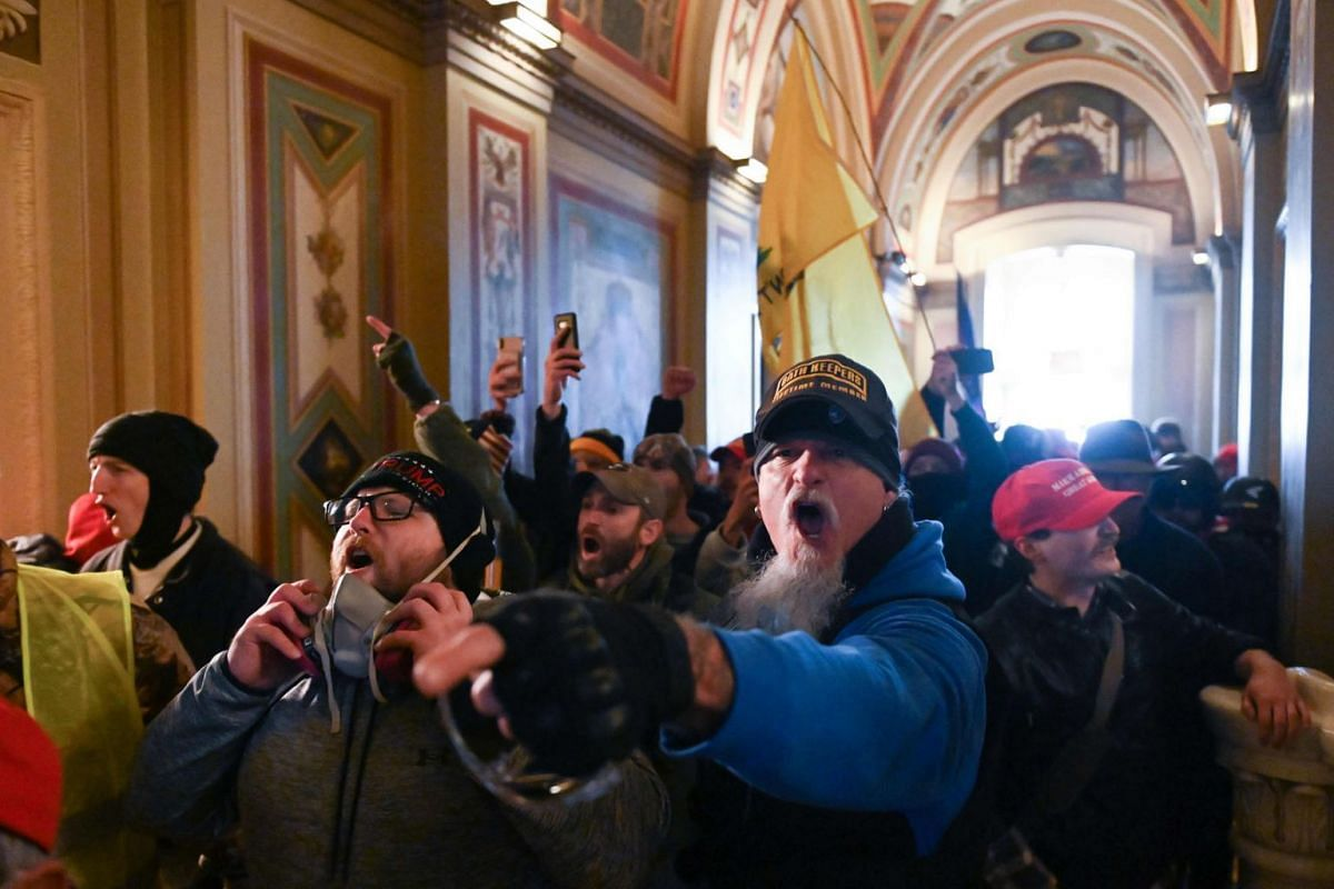 Supporters of US President Donald Trump protest inside the US Capitol in Washington on Jan 6, 2021.
