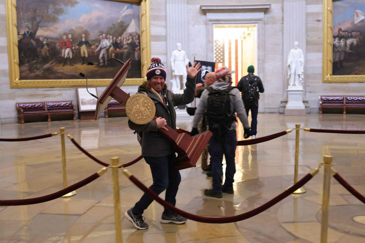 Protesters enter the US Capitol Building on Jan 6, 2021 in Washington, DC.