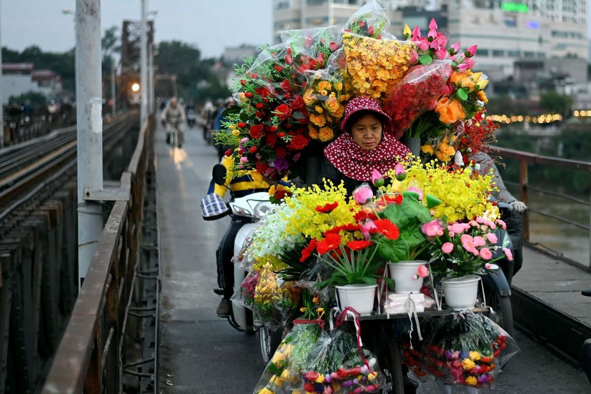 A woman selling artificial flowers rides her bicycle along the Long Bien bridge in Hanoi on Jan 12, 2021.