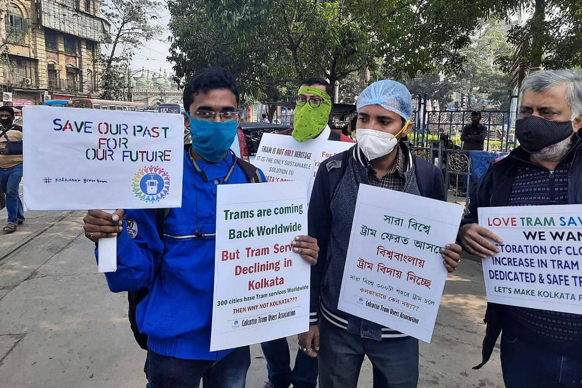 A Calcutta Tram Users Association protest in Kolkata on Dec 26 last year to demand increased and more regular tram services. PHOTO: CALCUTTA TRAM USERS ASSOCIATION