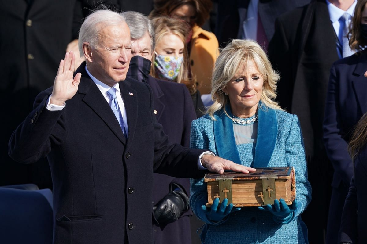 Mr Joe Biden being sworn in as the 46th President of the United States in Washington on Jan 20, 2021.