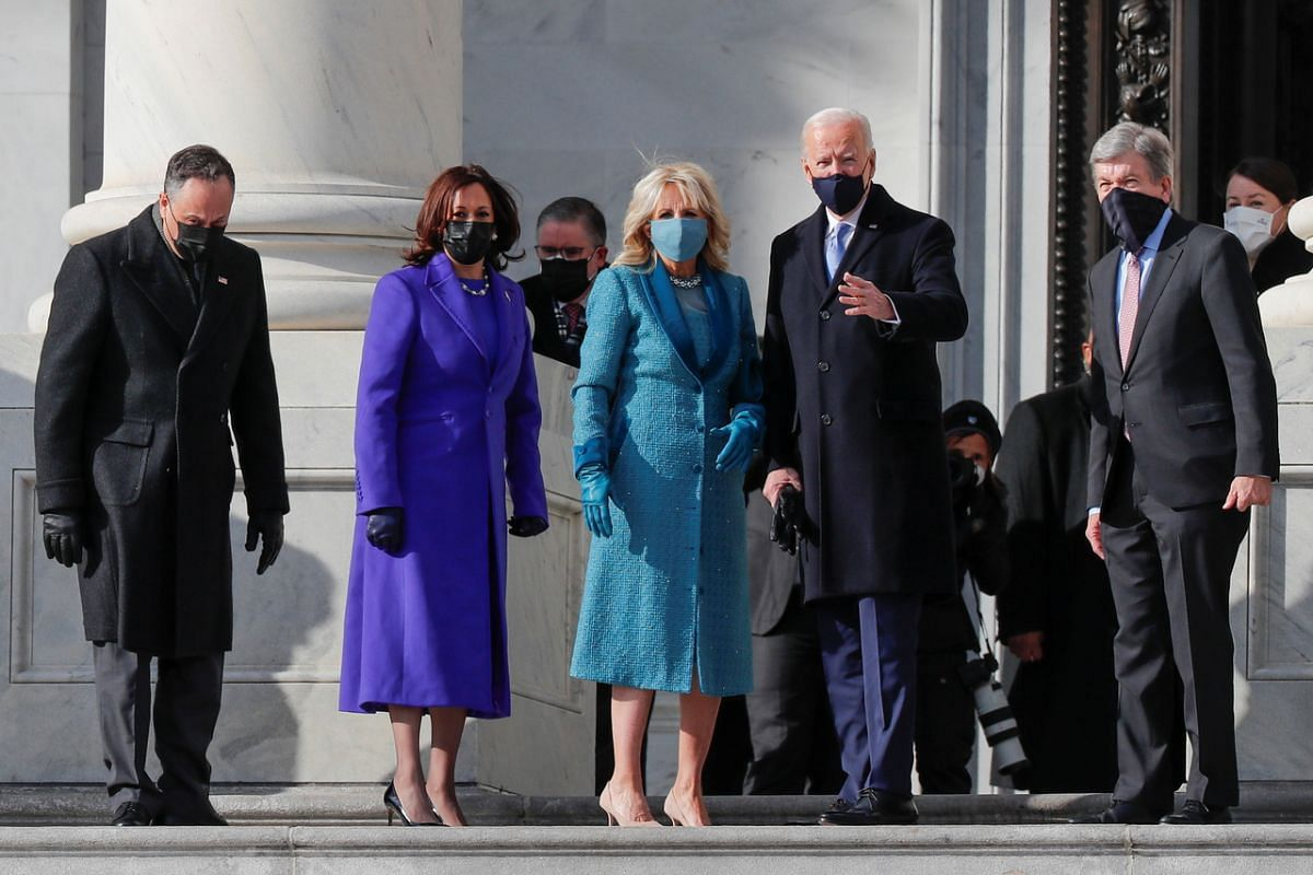 Mr Joe Biden (second from right), his wife Jill, Ms Kamala Harris with her husband Doug Emhoff and US Senator Roy Blunt arrive ahead for inauguration ceremony.