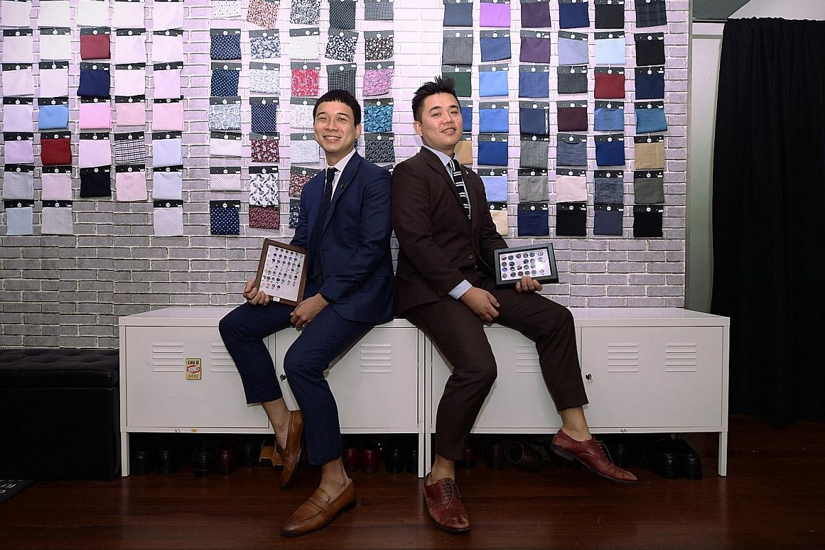 Stitched Custom's founders (from left) Mr Sim Joe Yee and Mr Tan Qing Quan pride themselves on being one of the first local tailors to offer a wide range of customising. Ms Sheryl Yeo started 3Eighth to adapt menswear to women's bodies. She launched