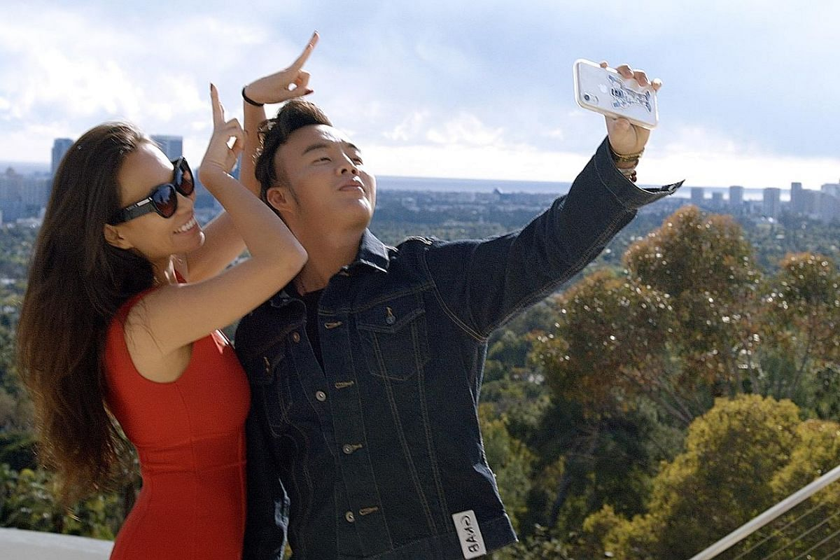 Kane Lim in one of his Instagram posts (above) and with his Bling Empire co-star Kelly Mi Li (left).