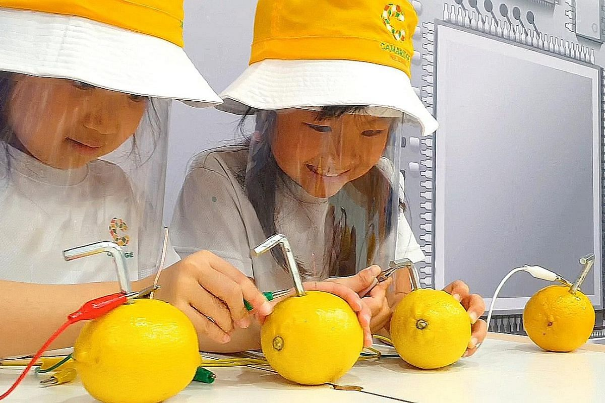 (Above) Pre-schoolers learning about Stem subjects at Cambridge Pre-school, which has a curriculum that blends science, technology, engineering and mathematics with the arts. (Left) Sarah Go (standing), a former student of Coding Lab, returned as a s