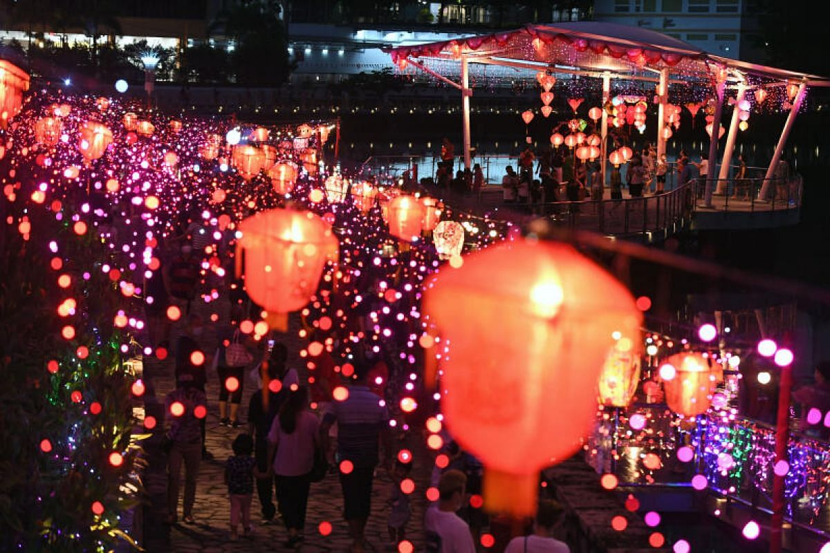 Bright lights and lanterns at Pang Sua Pond in Bukit Panjang on the second day of Chinese New Year on Feb 13, 2021.