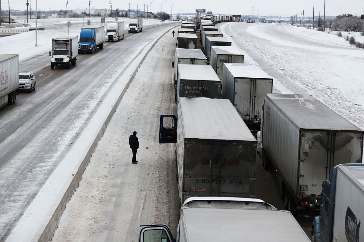 Vehicles seen at a standstill southbound on Interstate Highway 35 on Feb 18, 2021 in Killeen, Texas.