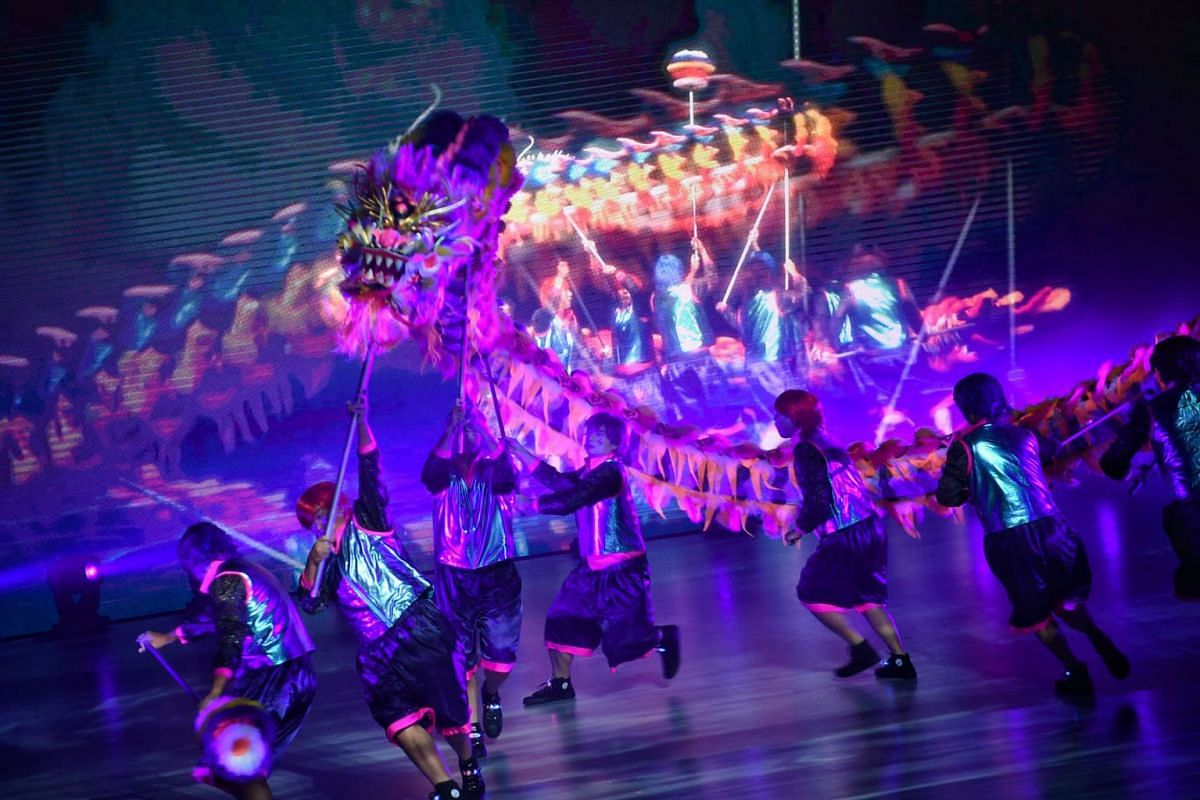 An act in The Flame Of Resilience being performed by the Singapore Chinese Cultural Centre at Singapore's first digital Chingay Parade on Feb20, 2021.