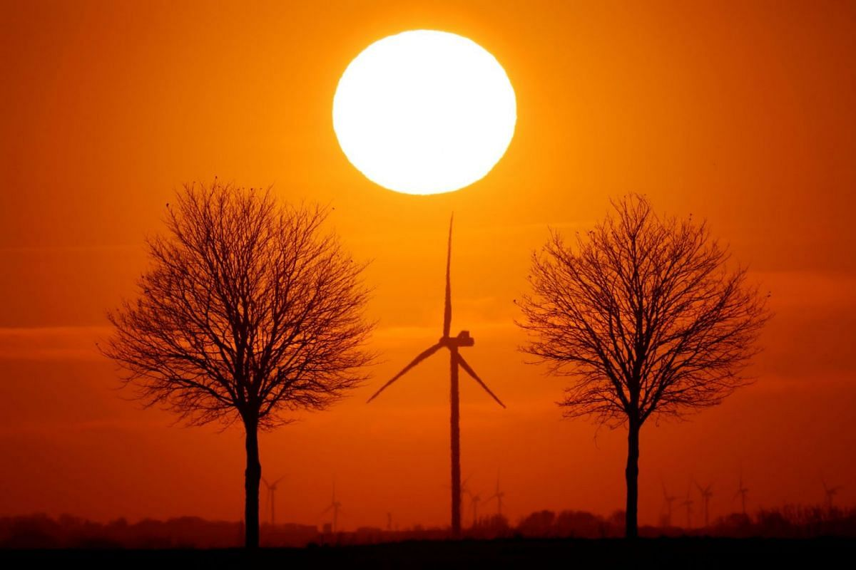 Power-generating windmill turbines are seen during sunset in Bourlon, France, Feb 23, 2021.