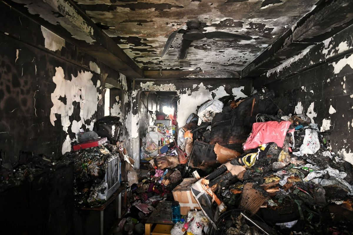 A fire broke out in a three-room flat on the 11th storey of Block 456 Ang Mo Kio Avenue 10 on March 5, 2021.
