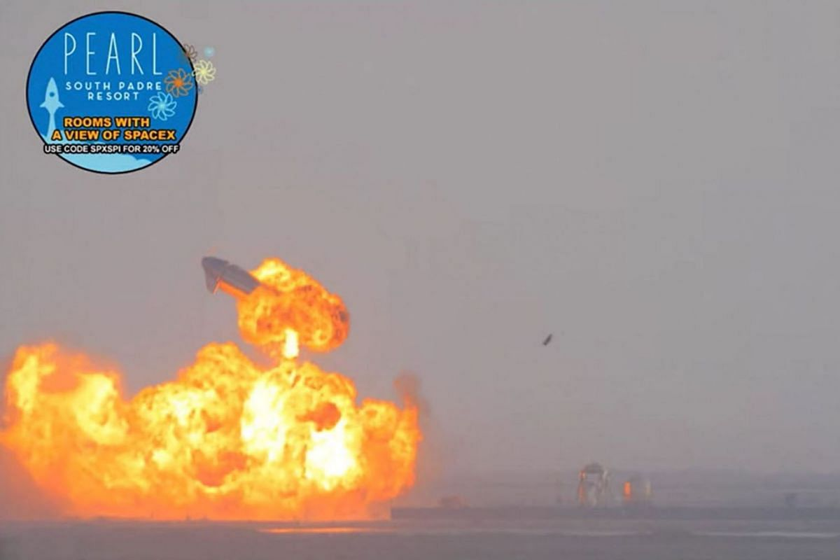 SpaceX Starship rocket explodes after landing at South Padre Island, Texas, U.S. March 3, 2021 in this still image taken from a social media video.