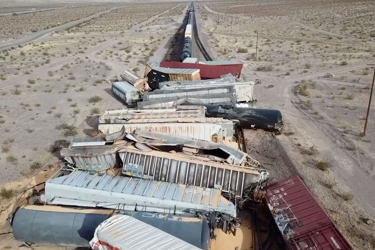 Drone view of BNSF Railway freight train cars after derailment near Ludlow, San Bernardino County, California, U.S., March 3, 2021 in this still image taken from social media video.