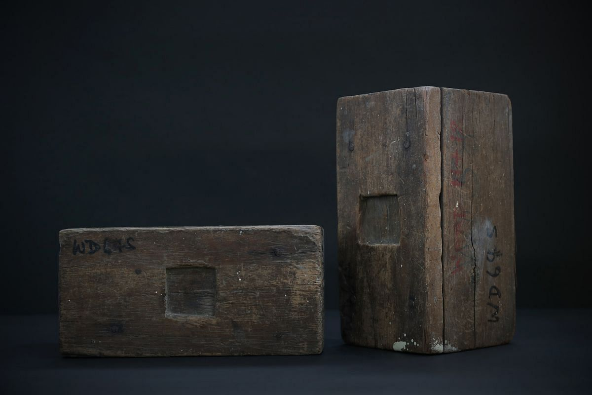 WOODEN BED BLOCKS: In the orthopaedic wards, nurses frequently had to elevate the foot of hospital beds as preparation to set up traction for patients with, for instance, lower limb fracture. This helped to keep the bones aligned, aiding healing. Bed