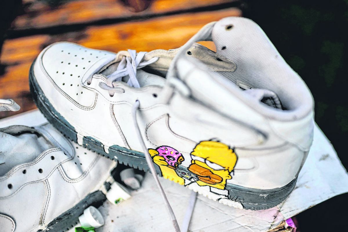 Sneakers are more than just shoes for hip South Africa city dwellers. At vintage sneakers reseller shop Court Order (top), a popular haunt for collectors of sneakers, there are myriad designs (above left) to choose from as well as a sneaker laundry (