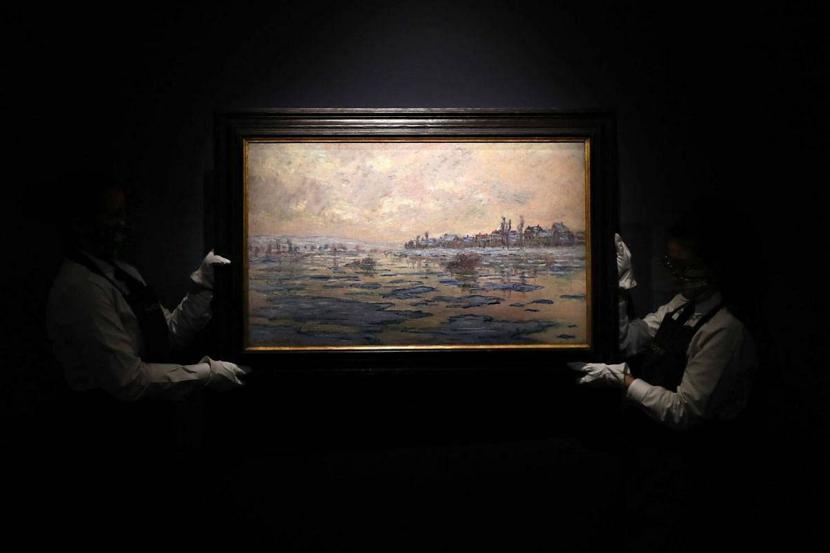 'La Seine à Lavacourt, débâcle' by Claude Monet is on display during Sotheby's NY press preview of the upcoming Impressionist and Modern Art Evening Sale at Sotheby's on May 3, 2021 in New York City.