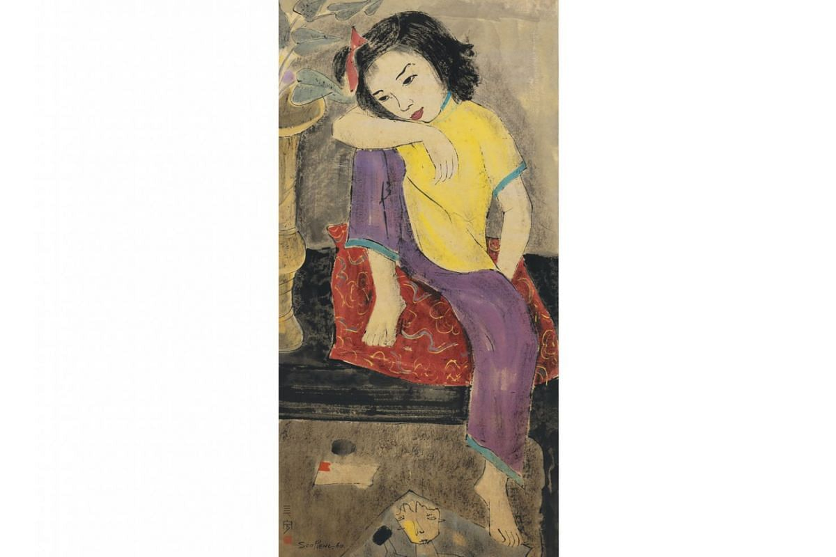 Some of Cheong Soo Pieng's works on show: Portrait Of My Daughter (1960), Chinese ink and colour on paper.