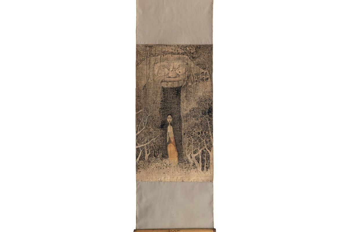 Some of Cheong Soo Pieng's works on show: God Bless (1982), Chinese ink and colour on rattan mounted on cloth.
