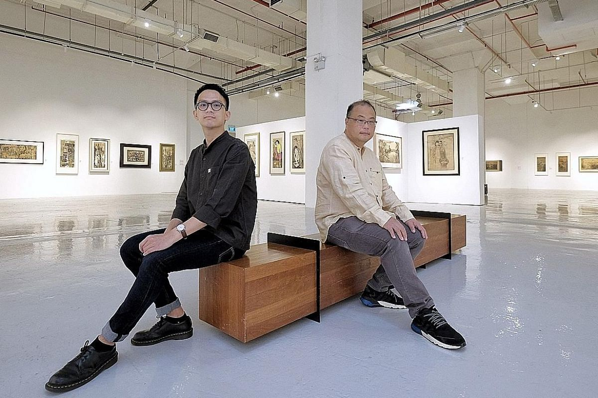 Artcommune gallery founder Ho Sou Ping (left) and curator Tan Yong Jun (far left) at the exhibition Tonalities: The Ink Works Of Cheong Soo Pieng (above), which features the artist's works from the early 1950s to 1983, the year he died.