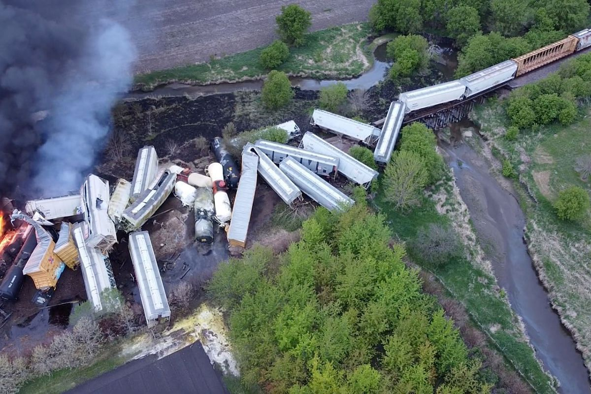 Fire is seen on a Union Pacific train carrying hazardous material that has derailed in Sibley, Iowa, U.S., in this still frame obtained from social media drone video dated May 16, 2021.