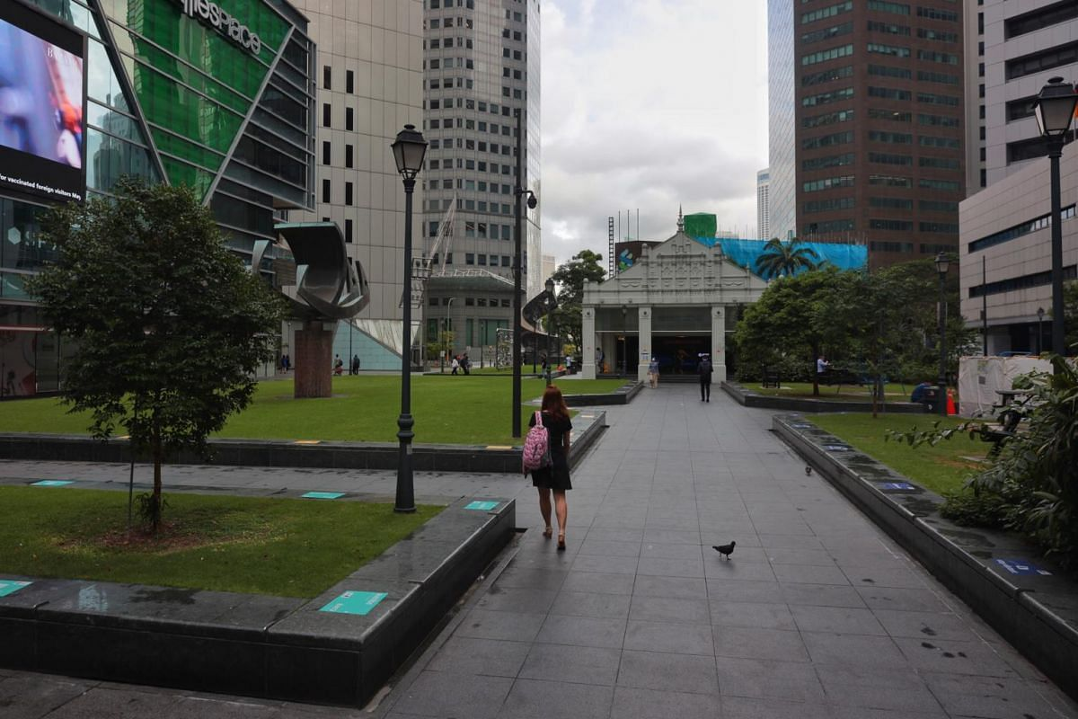 An empty Raffles Place is seen at 8.40am on May 17, 2021.