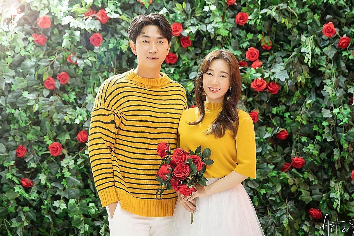 Mr Park Ju Bong and Ms Tivona See (both above) at a photo shoot at Korea Artiz Studio.