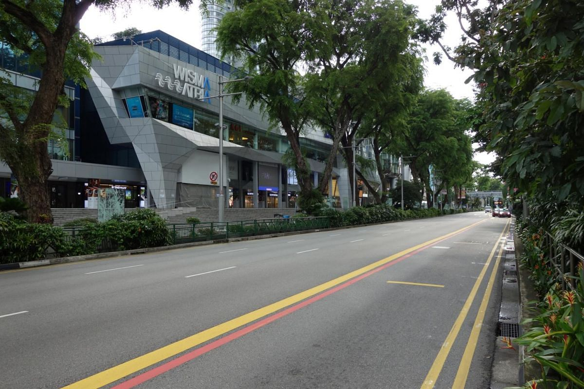 An empty stretch of Orchard Road as seen at 5.38pm on May 17, 2021.