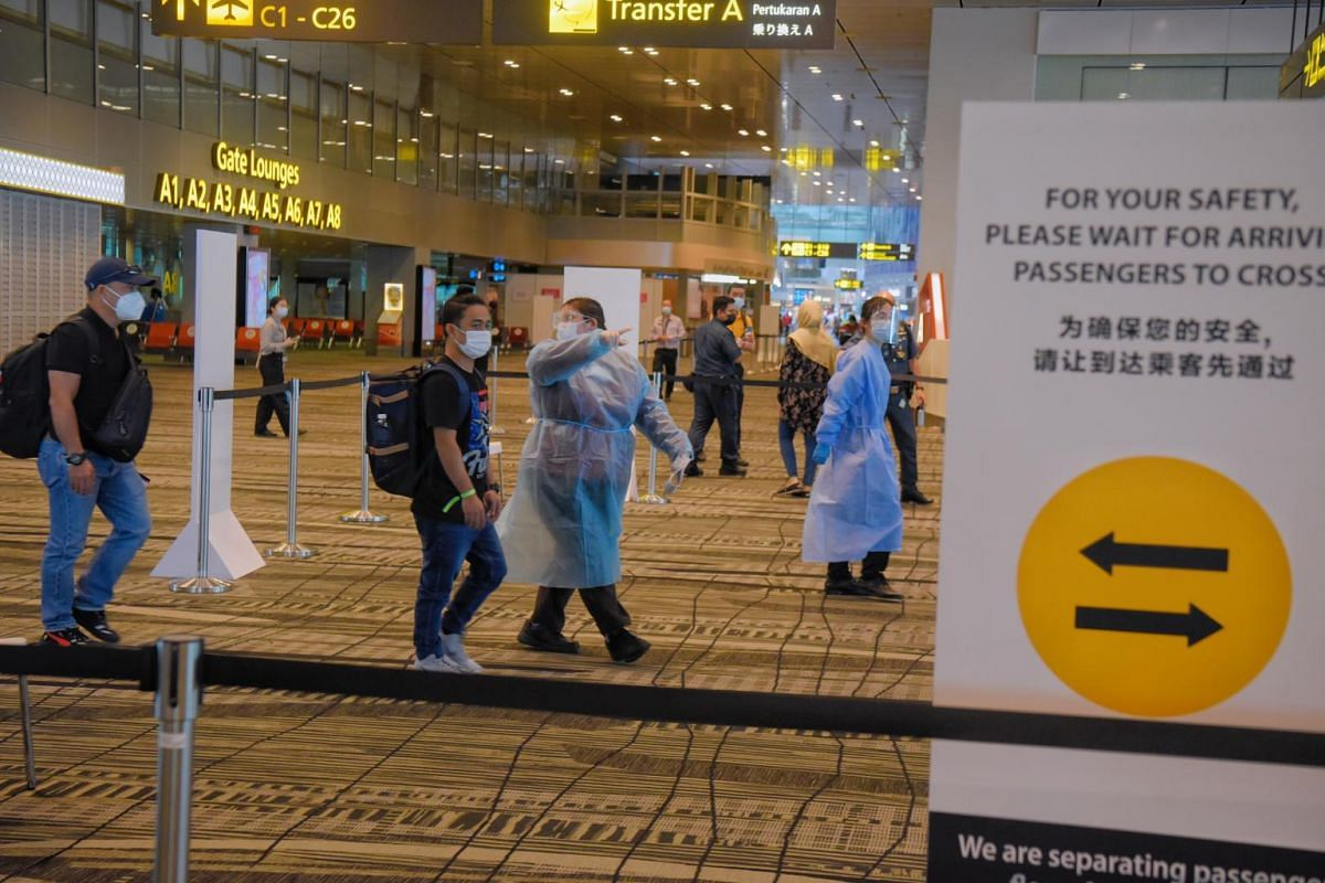 To prevent intermingling between outbound and inbound passengers, staff are stationed at certain points to set up barricades and direct human traffic.