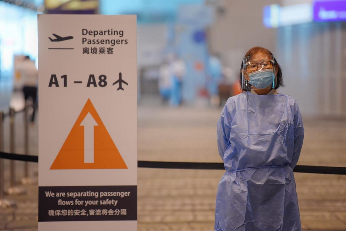 A Changi Airport worker at Zone 1 of Terminal 3 on May 24, 2021.
