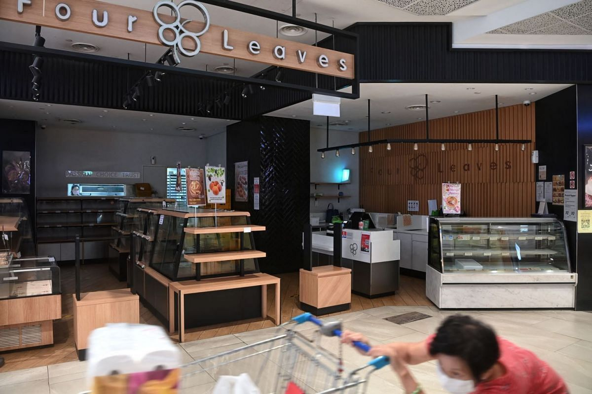 The Four Leaves' AMK Hub outlet, seen in a photo taken on June 9, 2021, has been closed for a day for cleaning after a Covid-19 infected retail assistant was there for training at the end of last month.