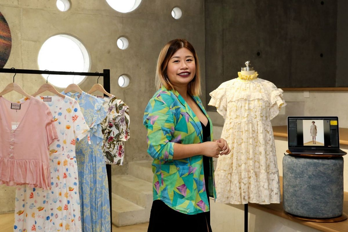 Designer Ng Yan Ling (above), founder of womenswear brand Lily & Lou, uses 3D sewing software to generate digital clothing samples, which are fitted on virtual models.