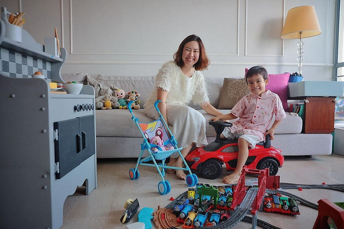 Professor Simon Chesterman and Dr Ming Tan tap current affairs to talk to their son, Vivian Zhihao Chesterman, 16, about moving beyond expectations based on gender. Ms Jocelyn Teo inculcates in her son, James, three, the value of respect by taking hi
