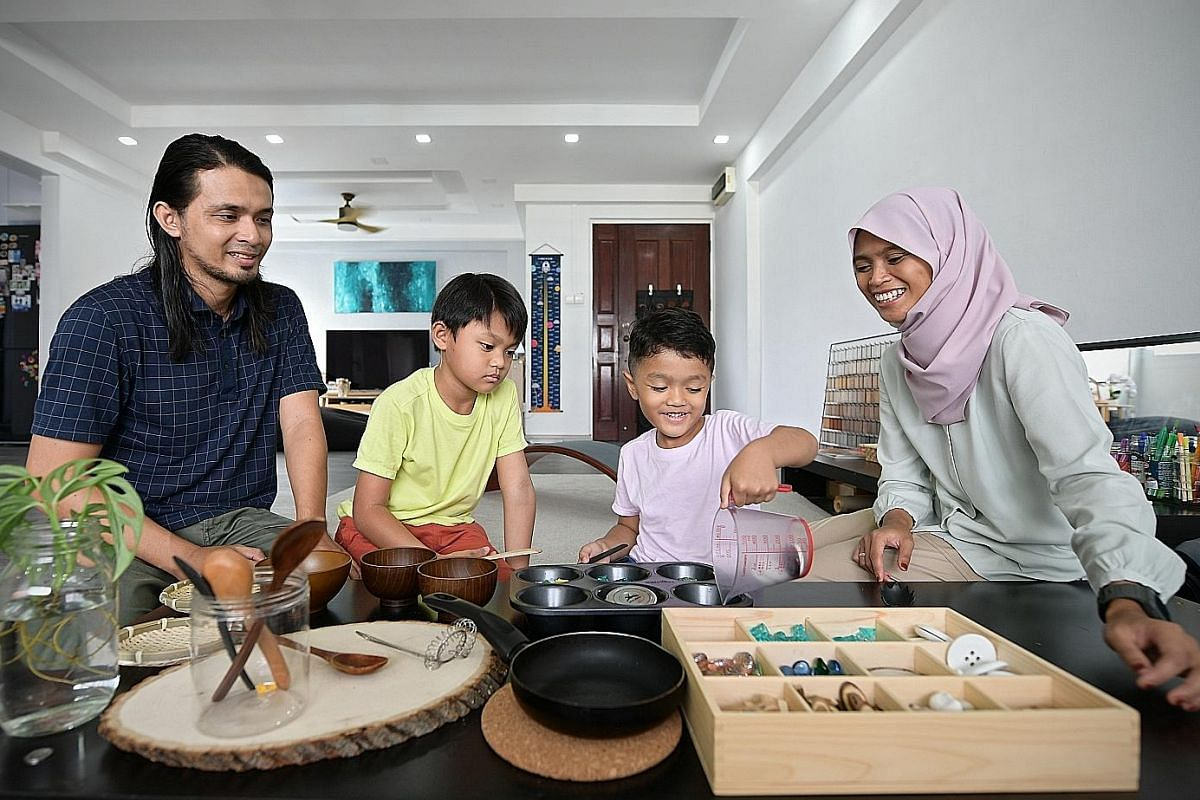 Ms Aminah Abdul Latif, who is married to Mr Iqbal Mohamed, has no qualms letting their sons, Umar, nine, and Ali, six, play masak-masak (play-cooking) and encourages them to do household chores such as cooking and folding clothes.