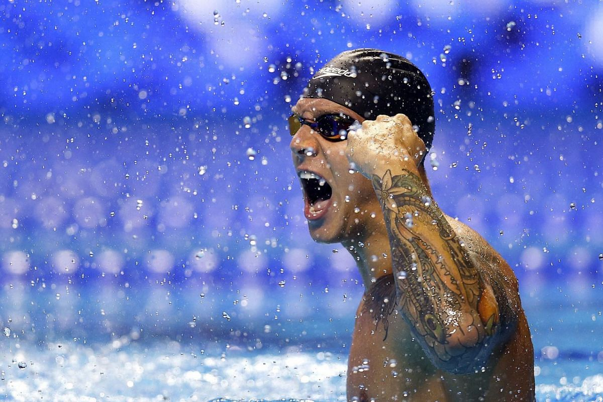 Caeleb Dressel of the United States reacts after competing in the Men's 100m freestyle final during Day Five of the 2021 U.S. Olympic Team Swimming Trials at CHI Health Center on June 17, 2021 in Omaha, Nebraska.